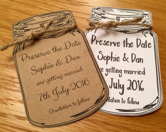 Rustic mason/Jam Jar Save the Date Cards (with Envelopes) -Wedding Invitation