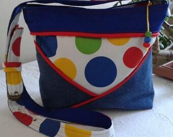 Bag recycled denim and cotton, adjustable shoulder strap and inside pocket