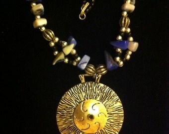 "Moroccan necklace ""radiant"" in bluish tones"