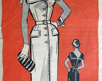 "Summer Sailor Chic Vintage 50's Marian Martin Dress Pattern 9036 Size 14 Bust 32""."