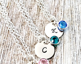 Personalized Hand Stamped Initial Necklace, Silver, Mother's Day