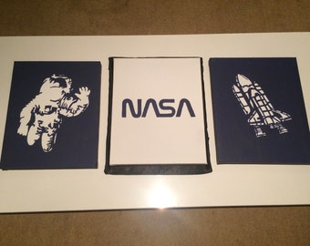 Set of 3 A4 canvases Nasa and Space theme