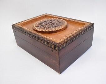 Handmade Wooden Jewellery Casket with Mirror/Carved Box With Mirror/ Storage Box/ Trinkets Box/ Keepsake Casket/ Case with Mirror