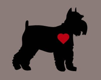 Schnauzer Car Decal, Schnauzer Window Decal, Schnauzer Vinyl Car Decal, Heart Schnauzer
