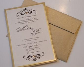 Gold Foil Invitations, Gold Foil Invitation, Black and gold wedding Invitations, Baroque Wedding Invitation,baroque Wedding Invitations