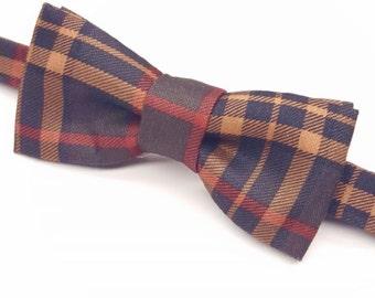 Men's Plaid Bow tie, Fall Bow tie, Dark Green Bow tie, Men's Bow tie, Pre-tied Dark Green Bow tie, Kid's Fall Bow tie, Green Plaid Bow tie