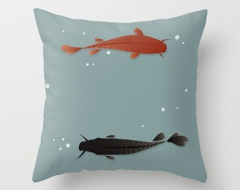 Koi Fish Cushion Pillow Case. Blue Water. Japan inspired style