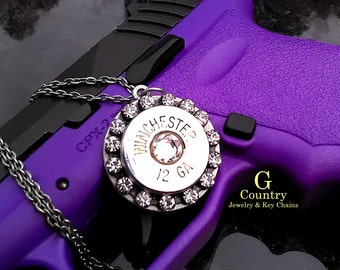 Bullet necklace- pendant necklace 12 gauge and swarovski crystal, unique, women's gift, bullet jewelry accessory