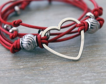 Red leather bracelet, multi strand wrap bracelet, heart jewellery, red and silver, leather wrap bracelet, silver beads, heart bracelet