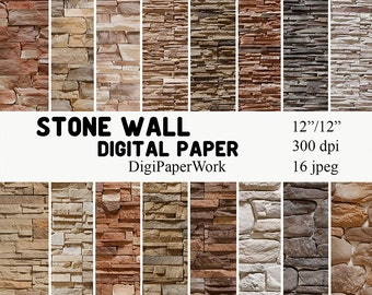 Stone wall Digital Paper stone texture Instant download stone pattern rock background for Personal and Commercial use