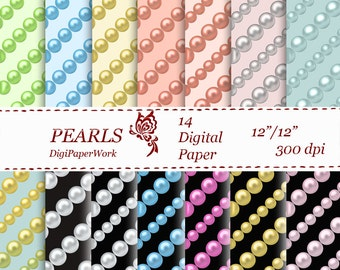 Pearls Digital Paper Instant download pearl pattern pearls background for Personal and Commercial use