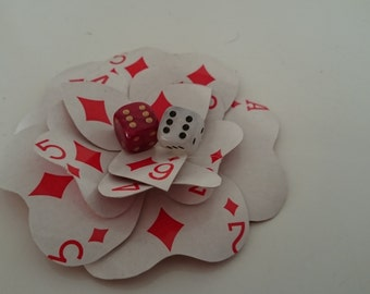 GAMBLER Cards & Dice Hair Flower