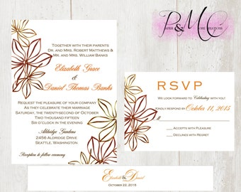 "PMC - ""FALL N2 LOVE"" - 5x7 Digital Printable Wedding Invitation Suite - Personalized"