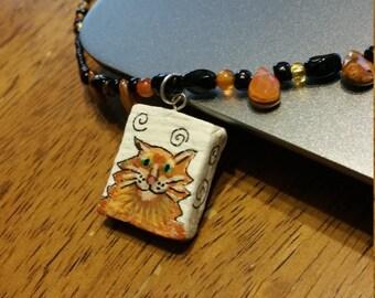 Fluffy Mischievous Ginger Kitty Cat Beaded Pendant Necklace