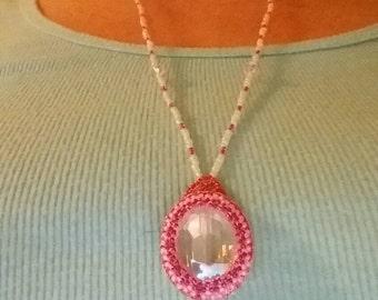 Necklace - Pink White Beaded Bezel