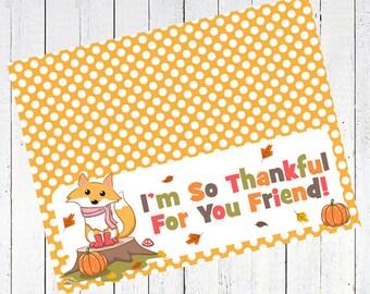 thanksgiving fox thankful bag topper fall autumn printable - Thankful Fox Bag Toppers Printable