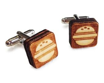 Wooden Cufflinks: Burger FREE WORLDWIDE SHIPPING