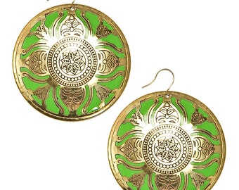 Vintage Enamel Underlay Earrings