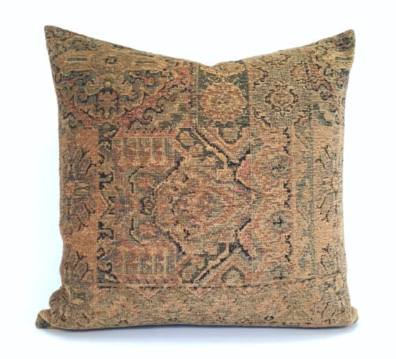 Ethnic Persian Rug-Style Pillow Cover With Hits Of Red By