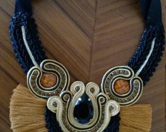 Black fringe necklace with Brown