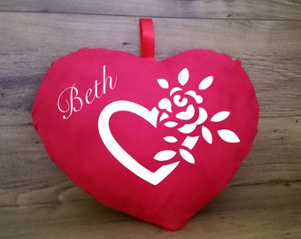 Personalised Heart Cushion. 30cm. Add any name. The perfect romantic gift.