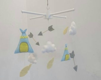 Teepee, arrows, feathers and clouds nursery mobile - tribal theme baby mobile