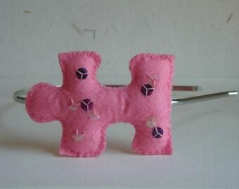 Headband pink felt puzzle