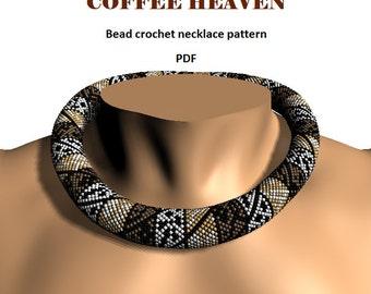 Coffee Heaven. Bead crochet rope pattern, PDF pattern, DIY, beaded necklace, bead crocheting