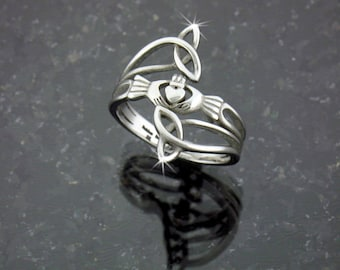 "Modern ""Take Me Home"" Claddagh & Trinity Ring (S76)"