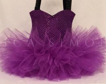 Medium Purple Sparkle Ballet Tutu Tote Bag - Dance Bag - Ballerina Tutu Bag