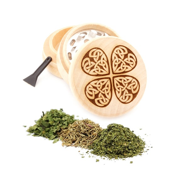 Lucky Clover Engraved Premium Natural Wooden Grinder Item # PW91316-35