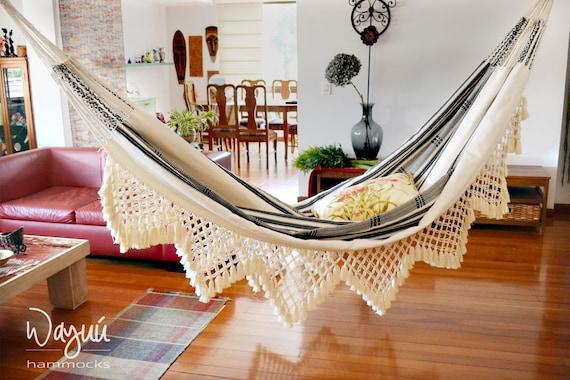 Tuchin hammock,  lovely 100% cotton , boho, natural, macrame, traditional, double hammock, hand woven, outdoors, luxury