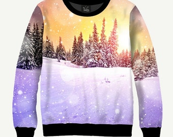Winter Landscape, Forest Landscape  - Men's Women's Sweatshirt | Sweater - XS, S, M, L, XL, 2XL, 3XL, 4XL, 5XL