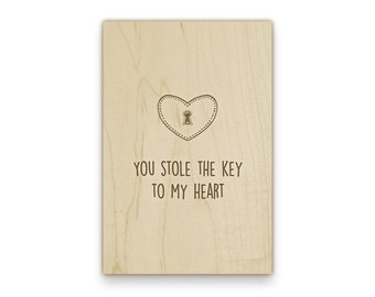 "Wooden Postcard ""Key to my Heart"" with your personalized wishes and adress, engraved"