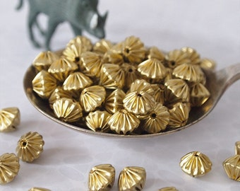 20 Metal Bicone Fluted Beads Brass Size 7 x 9mm