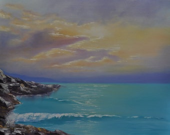 Ocean and sky - oil painting (20 x 16)