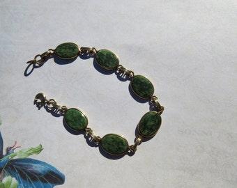 Vintage Jade 12k Gold Filled Bracelet