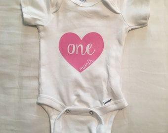 Heart Baby Onesies, 1 month to 1 year