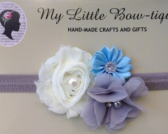 Gray, cream, and blue elastic headband for girls and women