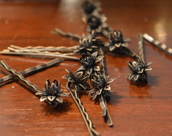 12 pcs Antique Brase Bobby Pin, Floral Filigree Bobby Pin, Can fit 6 - 8 mm beads