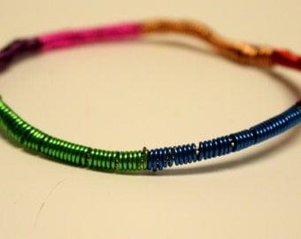 Rainbow wire bangle bracelet