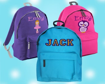 Embroidered Personalised Rucksack/Backpack/Junior school bag,