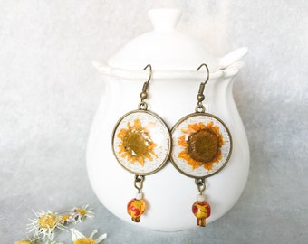 Earrings with yellow daisies Van Gogh