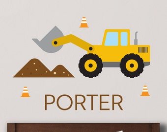 Front End Loader Wall Decal, Loader Wall decal, Loader Decal, Loader Wall Sticker, Boys Room Decal, Boys Name Decal, Personalized Decal