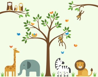 Jungle Animal Decals, Jungle Animal, Jungle Wall Decals - Large