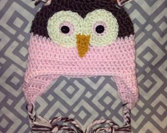 Baby Owl Hat With Earflaps