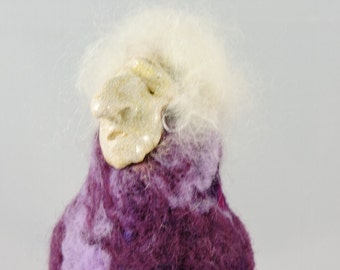 Unique Felted Bird with a Big Bum, Decorative Needle Felted Animal in a Clay Mask for your Home Décor, Purple, Collectable Felted Figures