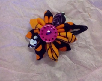 Halloween theme flower fabric hair clip