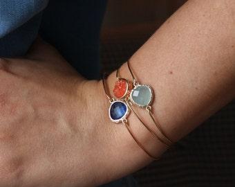 Bangle with set with coloured stone bracelet