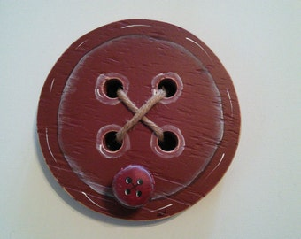 Wood Button hanger w/peg